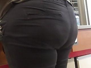 BBW Ebony Clerk Chunky Butt Close Up
