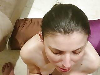 Amateur Brunette Milf Blowjob with Facial 2 Part 2