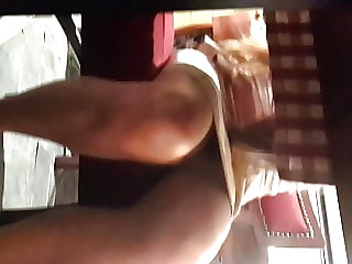 Cute yng Gf's sexy legs, upskirt under table