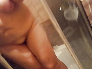 Bbw Gf's naked sexy body in shower, big natural tits