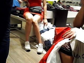 Short skirt, sexy long kegs, quick upskirt at shopping