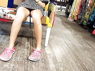 Her sexy sitting upskirt, open legs
