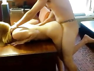 Husband films his best friend fucking his wife over the desk