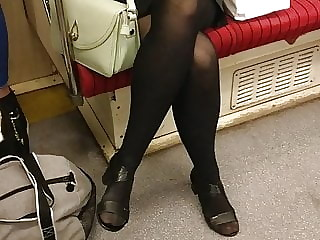 Voyeur Black Pantyhose with Faceshot