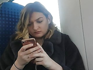 Candid hot blonde on the train