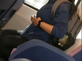 Hot brunette watches erection bulge in train