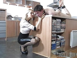 Mistress Eleise puts the guy in place.