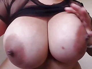 Large round natural breasts and pussy tease