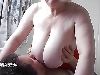 Mature Sally plays away from home