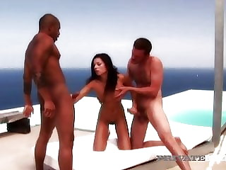 PrivateBlack - Vanessa May Face & Pussy Fucked By B&W Cocks!