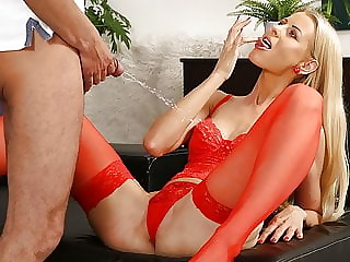 MILF In Red Stockings Loves Watersports