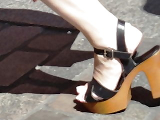 Candid mature with french pedicure in high heels