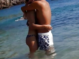 Hot  horny  couple at tha beach