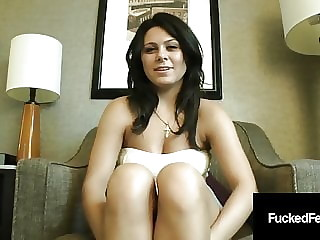 Tanned Arabella Jade's High Arched Size 8 Feet Give Footjob!