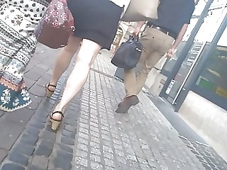 Sexy legs and heels close up and fat ass