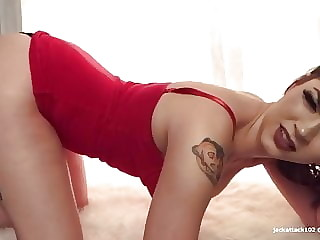 Farting in a red dress