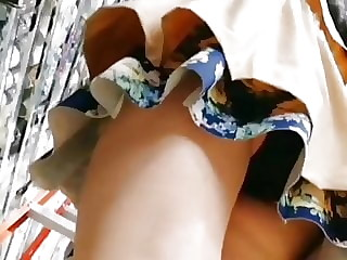 CHINESE SPECS GIRL UPSKIRT WITH BLACK PANTIES