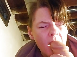 Orgasm while sucking a huge dildo