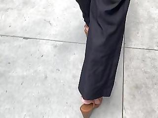 Amazing slim PAWG in jean like dress pants 1