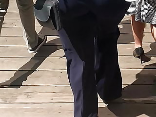 Beautiful PAWG Granny in dark blue dress pants Vpl