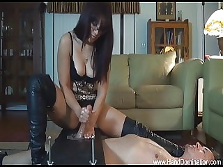 Cock continues to milk out during brutal post orgasm handjob
