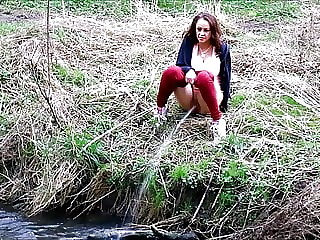 Pervy Pixie Pissing in the River
