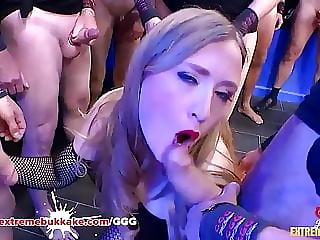 Mature babe Angelina gets first bukkake gangbang
