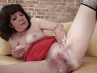 Hairy granny fucks her old cunt