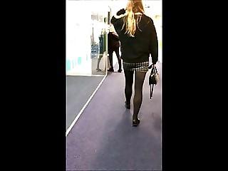 Candid Office Teen Miniskirt