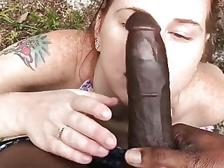 Teen girl doing deep throat blowjob for giant BBC