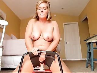 Chubby amateur wife riding a dildo