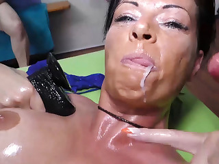 busty german milf oiled and group banged
