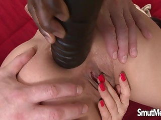 Lucy Bell Prepared with an Elephantine Dildo for a Merciless IR Double Anal