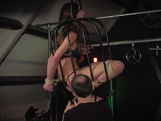 Teen trapped in a cage submissive and humiliation