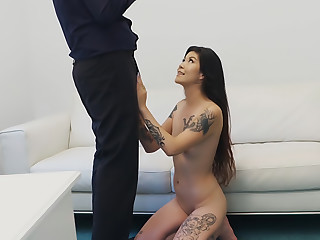 Tattooed Asian chick swallows cum