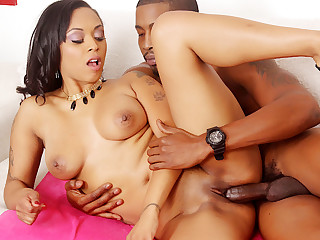 Steamy Black Slut Porsha Carrera Gives a BJ to a BBC and Then Rides It Hard