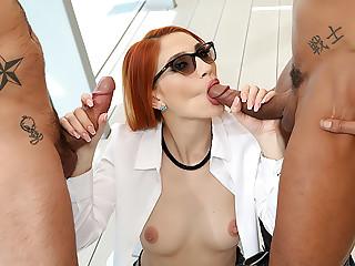 Busty Redhead Luna's Big Cock DP
