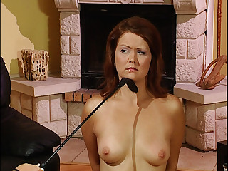 Master dominates his housemaid with floggers and whips.